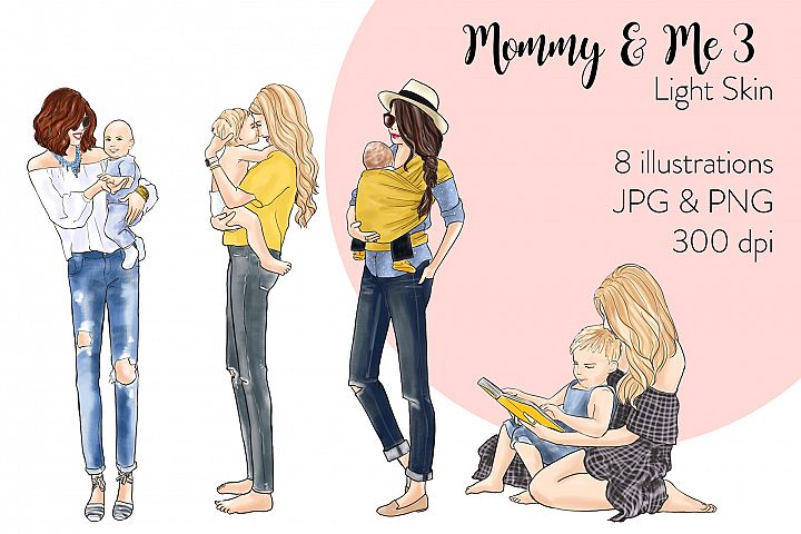 Fashion illustration clipart - Mommy & Me 3 - Light Skin