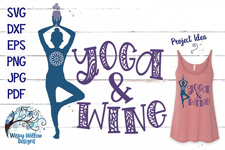 Yoga And Wine SVG Cut File