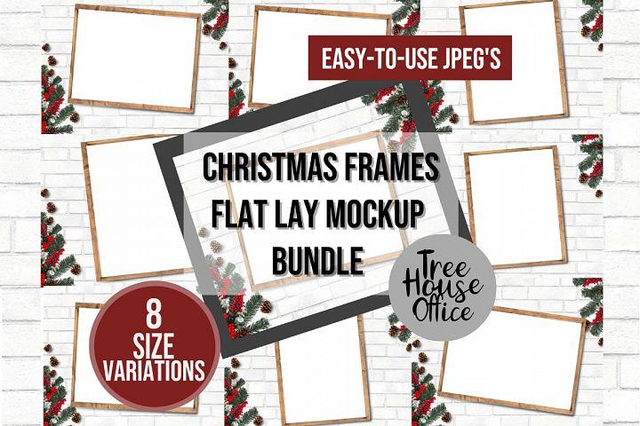 Christmas Holiday Flat Lay Frame Mockup Bundle, JPEG Flatlay