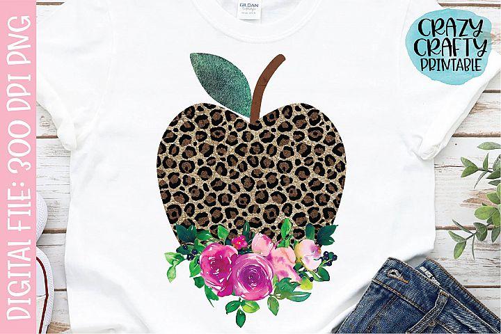 Floral Leopard Print Apple PNG Printable Sublimation File