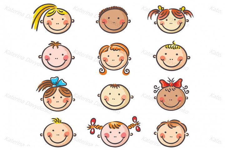 Set of happy cartoon kids faces