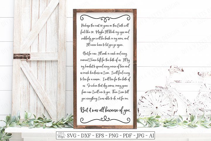 Because Of You - Child Baby Loss - Grief Bereavement SVG DXF
