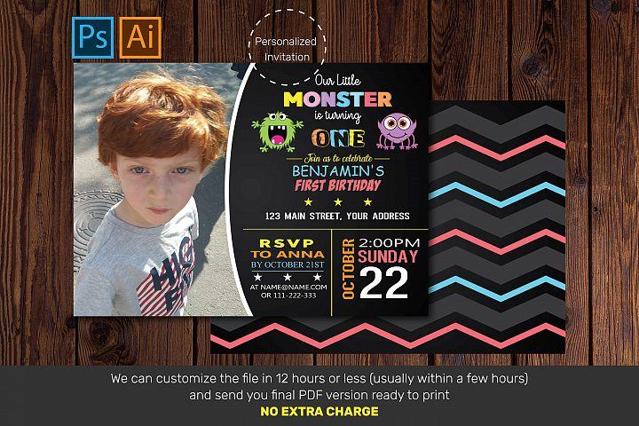 Monster Birthday invitation| Birthday invitation card