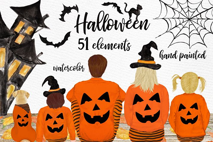 Halloween clipart, Family Clipart, Thanksgiving clipart
