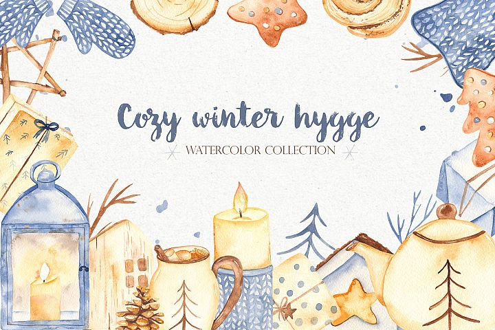 Hygge watercolor clipart Christmas cozy winter collection