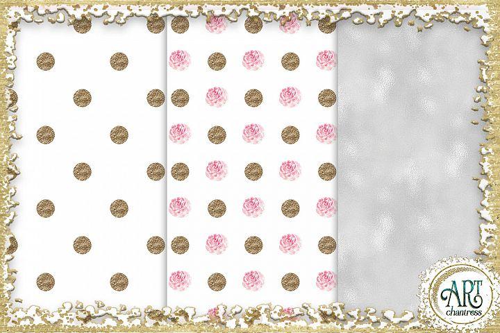 Glitter digital paper-pink,white,gold-digital textures JPEG example 5