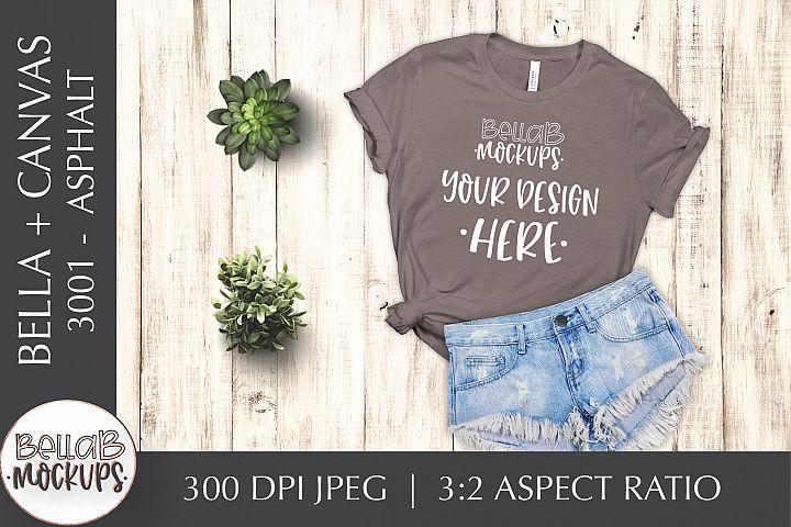 Bella Canvas 3001 Womans T Shirt Mockup, Asphalt, Flat lay