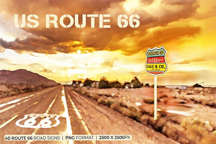US Route 66 - 40 Road Signs - PNG