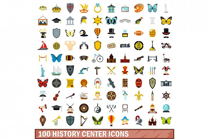100 history center icons set, flat style
