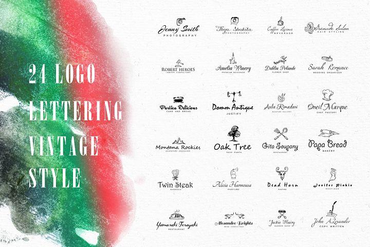 24 Logo Lettering Vintage Style
