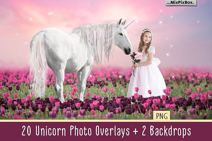Unicorn PNG Overlays and Backdrops Pack