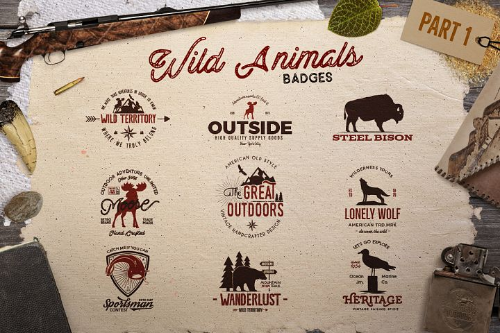 Wild Animals Badges - Free Design of The Week Font