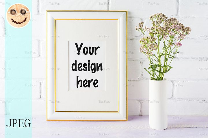 Gold decorated frame mockup with pink flowers in vase
