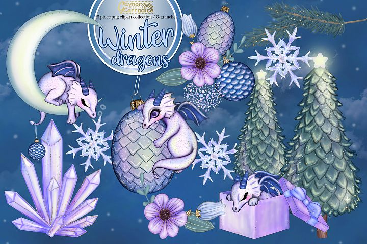 Winter dragons - Christmas clipart collection