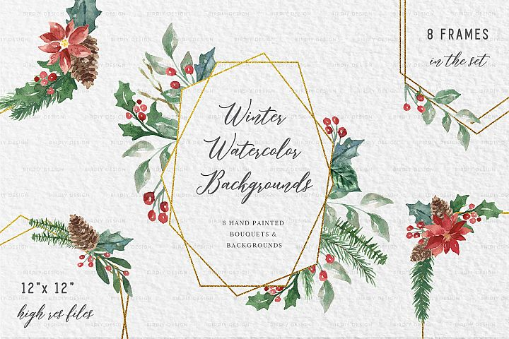 Winter Watercolor Frame Backgrounds