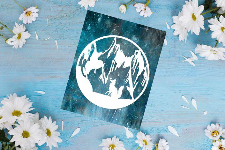 Fox Mountain Papercut Template