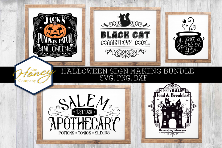 Halloween Sign Bundle SVG PNG DXF Painted Laser Cut Files