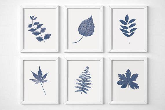 Navy Blue Wall Art, Set Of 6 Prints, Set of Blue Prints, Leaves Wall Art, Blue Botanical Print, Navy Blue Prints, Leaves Prints, Blue Prints