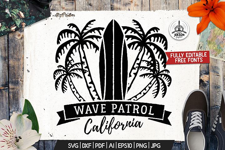 Surf Patrol Adventure Badge, Vintage Summer Logo SVG File