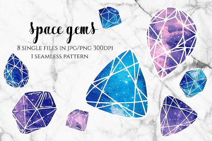 Space Gems - Blue and Purple Galaxy