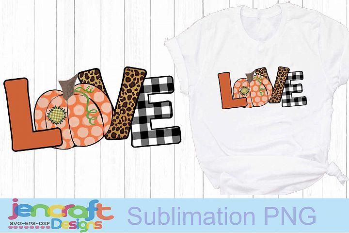 LOVE Pumpkin png Thanksgiving Sublimation Print PNG file de