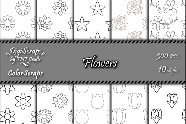 ColorScraps Flowers Digital Coloring Scrapbook Paper Pack