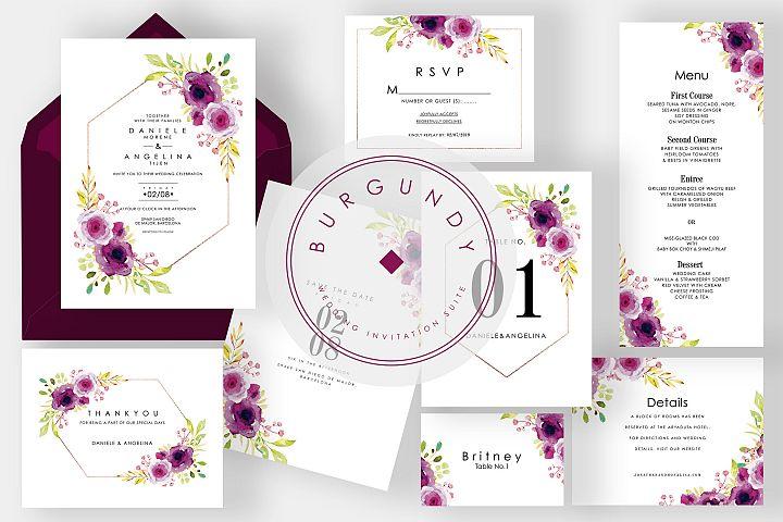 Burgundy Wedding Invitation Suite