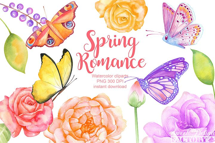 Watercolor butterflies and flowers clipart