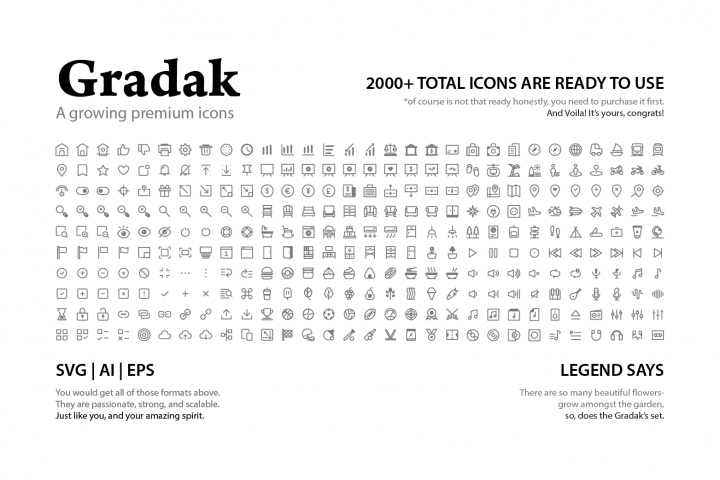 Gradak - a Growing Premium Icons