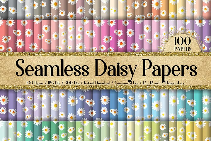 100 Seamless Daisy Flower Shabby Chic Floral Digital Papers