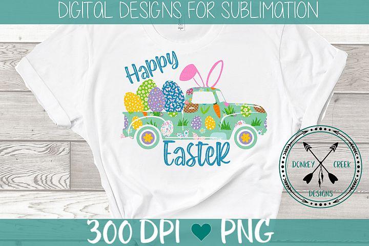 Happy Easter Vintage Truck sublimation design