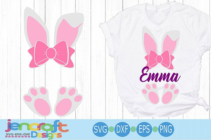 Easter Bunny Ears Feet Svg, Easter Monogram Svg