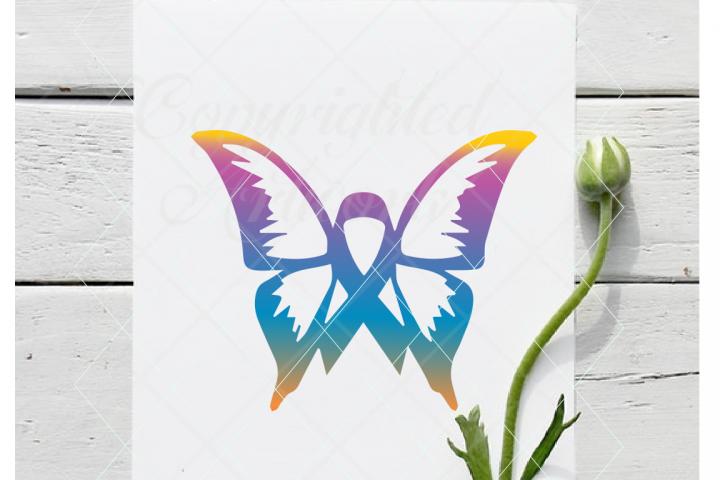 Butterfly ribbon, cancer svg, awareness svg cancer awareness