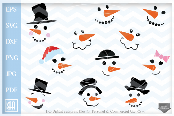 Snowman Faces SVG - Snowman Svg - Christmas bundle SVG