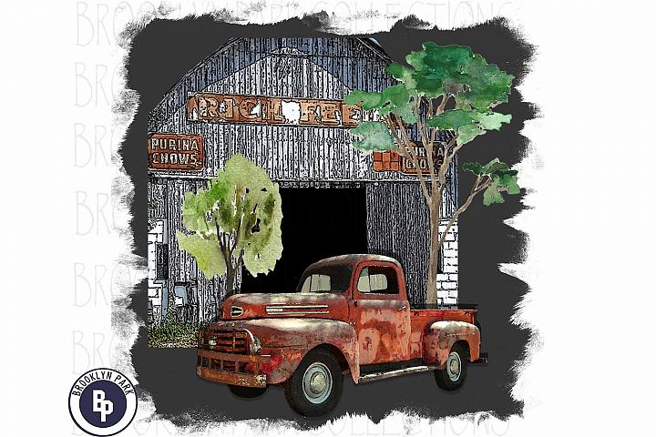 Purina Feed Sign, Farm Barn, Vintage Truck, Sublimation PNG