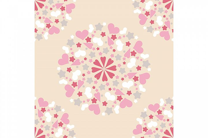 Seamless pattern with decorative hearts and stars.
