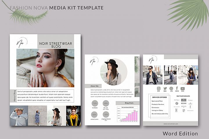 Fashion Nova Media Kit Template | 3-Pages | Influencer Media
