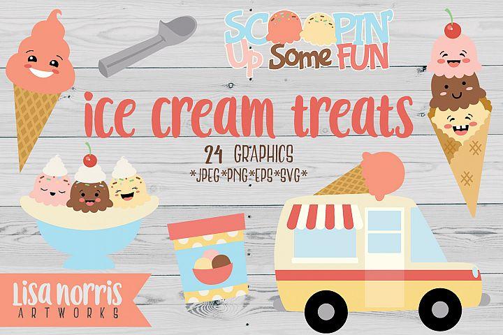 Ice Cream Treats Clip Art Graphics & SVG Cutting Files
