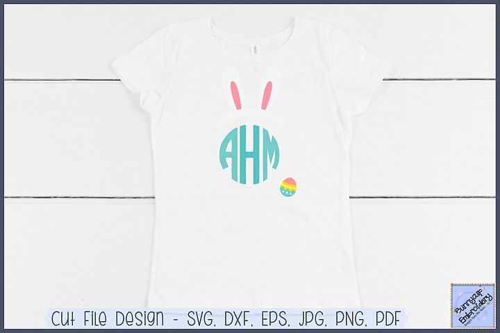 Easter Bunny Ears Monogram Topper - SVG and Clipart