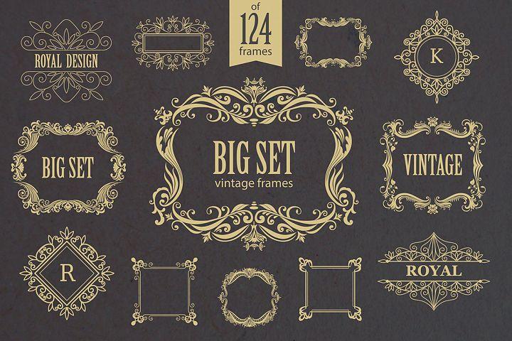Set of vintage frames and monograms