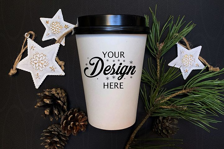 Winter Styled Photography White coffee glass mock up stars