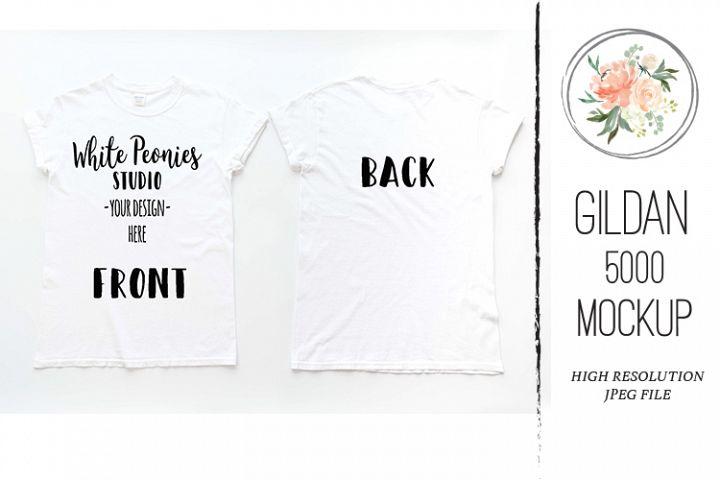 White GILDAN 5000 Shirt Mockup Back and Front