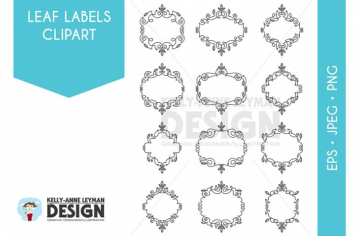 Swirl Digital Labels Clipart Set, Digital Frames