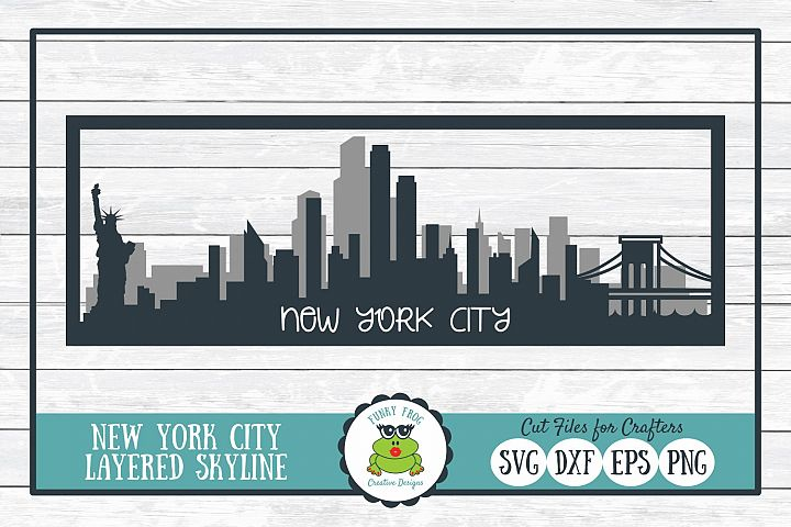 New York City Layered Skyline SVG Cut File for Crafters
