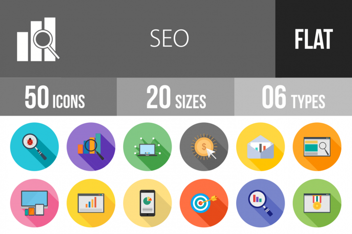 50 SEO Flat Long Shadow Icons