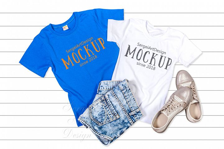 Blue and White T-Shirt Mockup, Flat Lay Tee Shirts