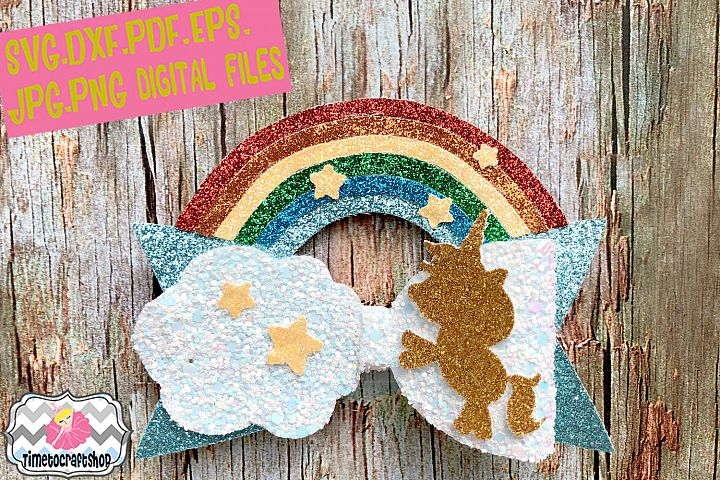 Magical Unicorn Rainbow Hair Bow Template