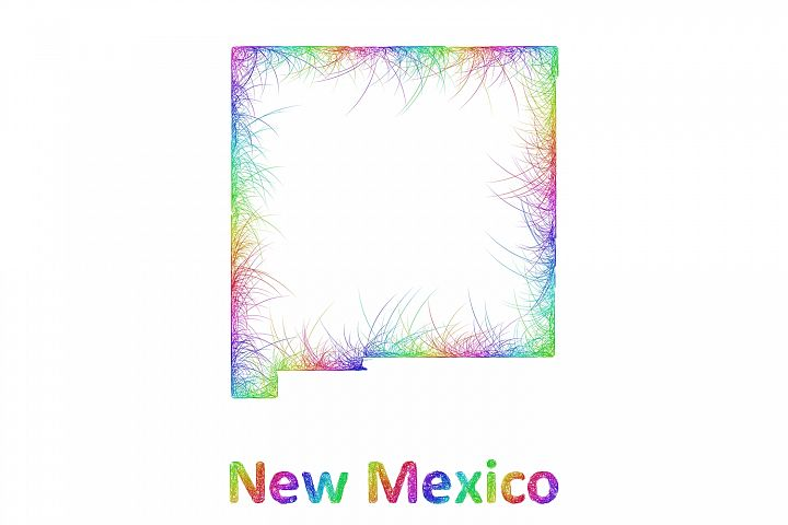 Rainbow sketch New Mexico map