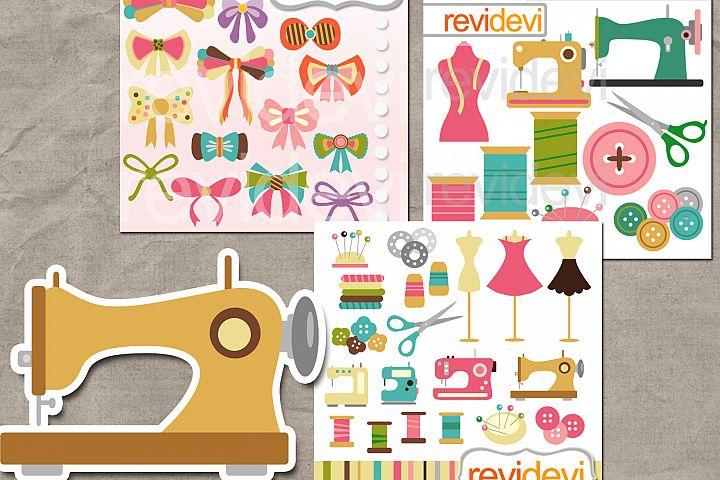 Sewing graphics bundle (craft hobby sewing machine, ribbons, yarns)