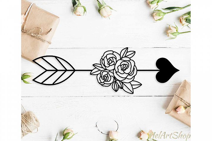 Floral Heart Arrow svg cutting file